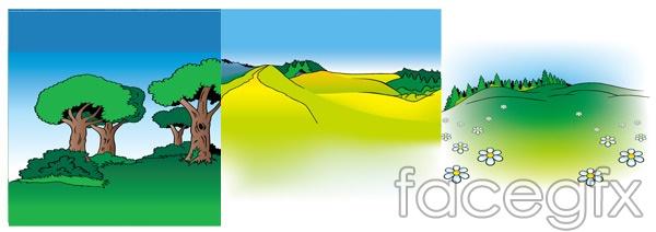 Cartoon vector landscape trees Hill flowers