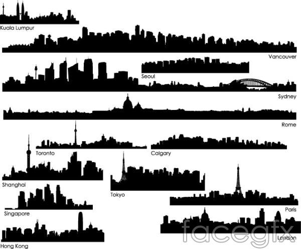 Cities around the world sketch 1 Singapore Paris vector