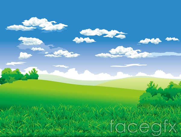 Countryside scenery vector EPS format