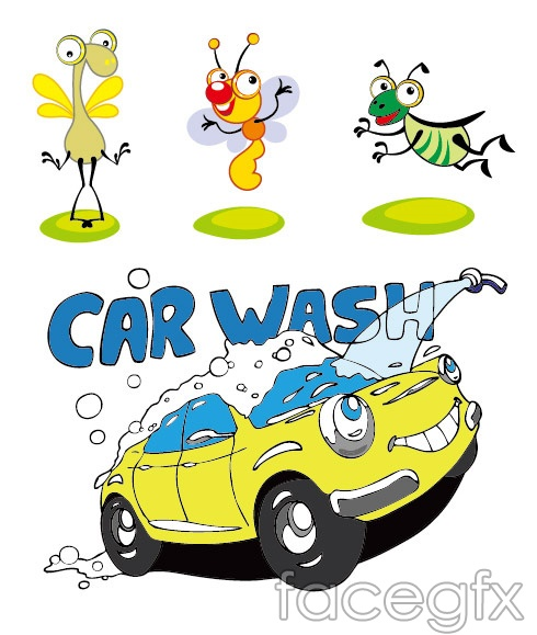 Effect of insects and auto car wash water spray cartoon vector