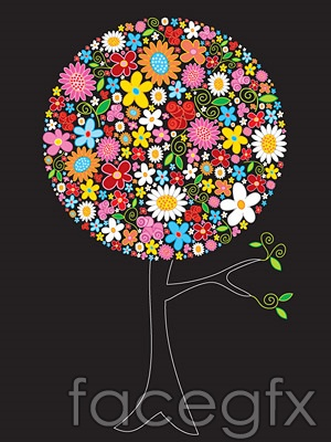 Flower composition vector tree design