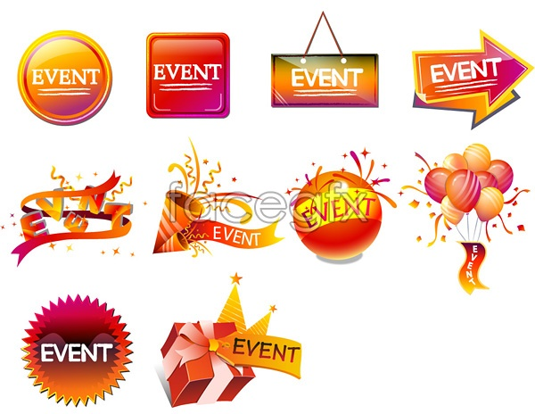Holiday sales icon promotions selling balloons vector