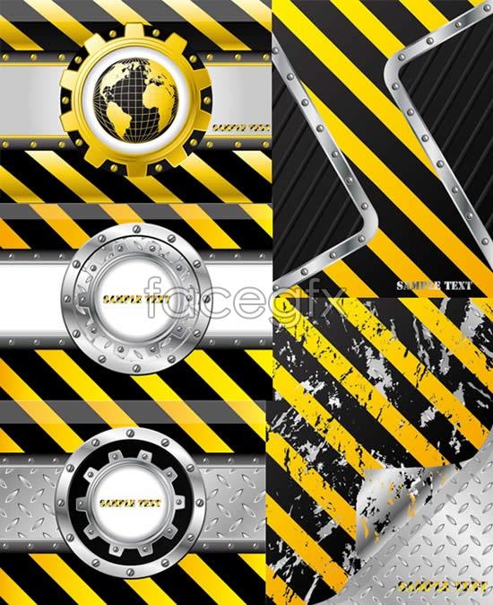 Industrial background vector metal rings