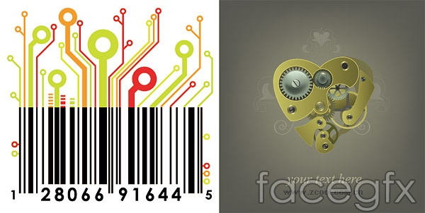 Mechanical and circuit board the barcode vector