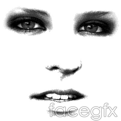 Mesh-like woman's face eyes nose mouth vector