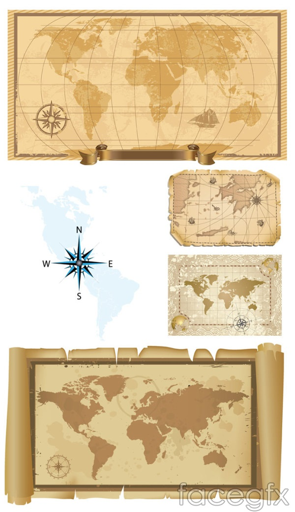 Old map vector world compass