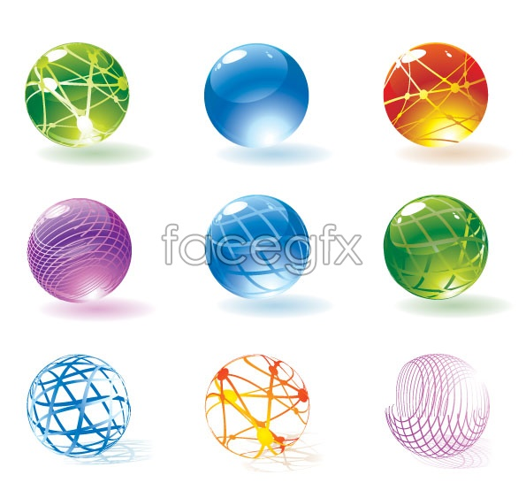 Round crystal ball icons in EPS format vector icons round crystal ball