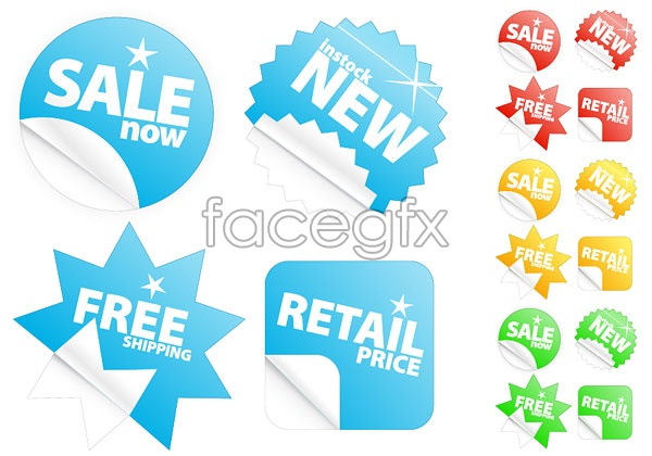 Sales sticker icons vector EPS format