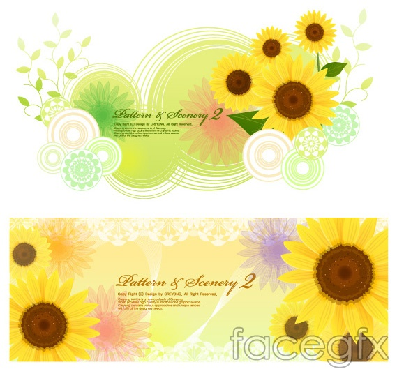 Sunflower and fantasy backgrounds vector