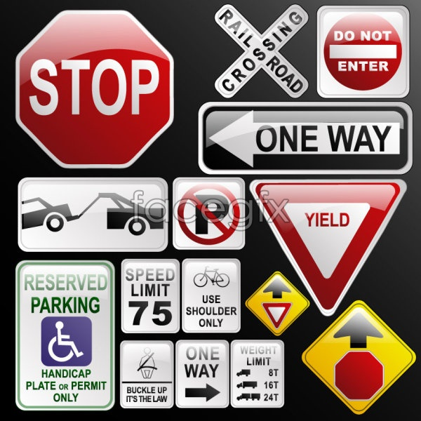 Traffic signs icons vector