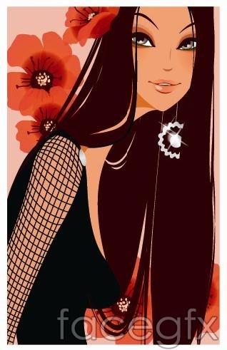 Vector beautiful girl Red