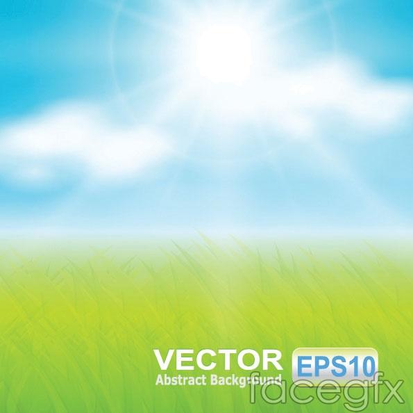 Grass sky vector sun rays