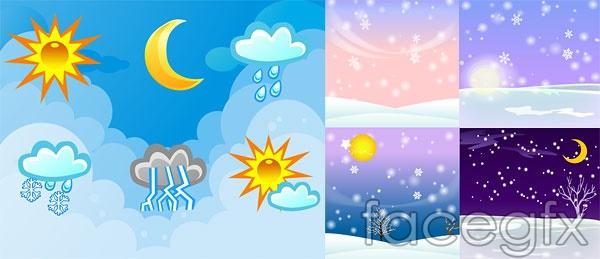 Weather vector sky snow Sun