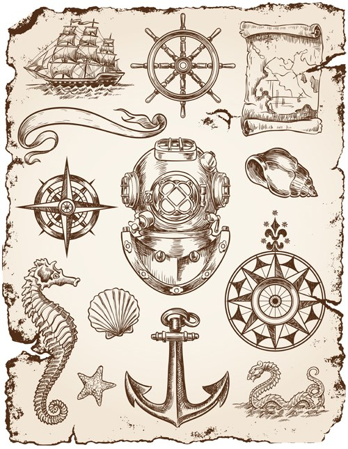 Marine labels and decor vector collection 01