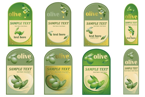Set of olive oil label Stickers vector 03