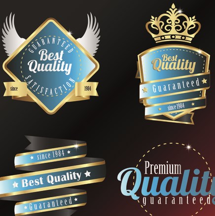 Vintage quality and premium labels vector 04