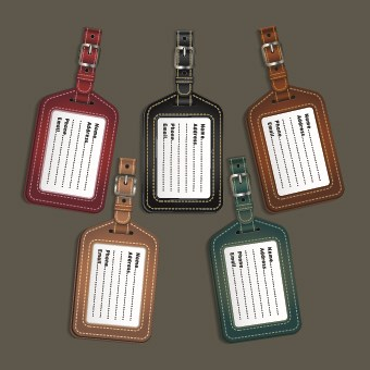 Colored Leather tags design vector 05