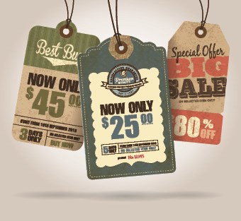 Cardboard Sale tag vector 03