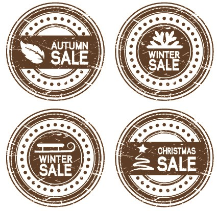 Set of Autumn and winter offer stickers design vector 03