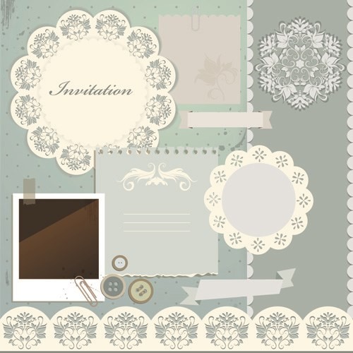 Vintage Paper with lace vector 03