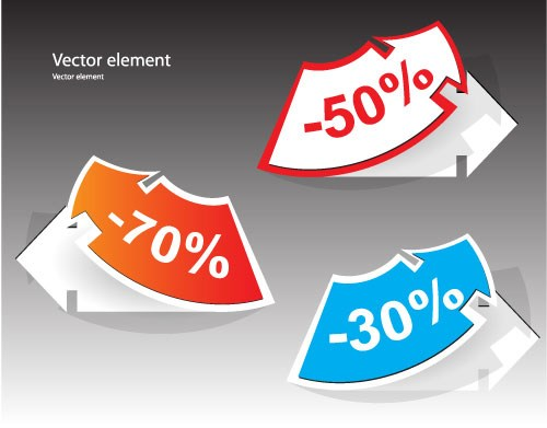 Elements of Creative discount label Stickers vector 01