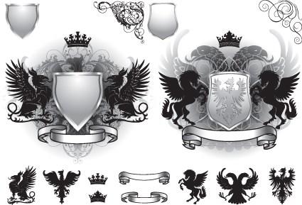 Vintage Royal labels design vector graphics 04
