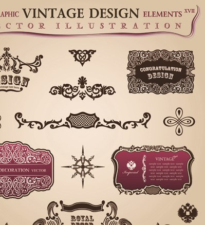 Set of Calligraphic vintage Borders and label vector 06