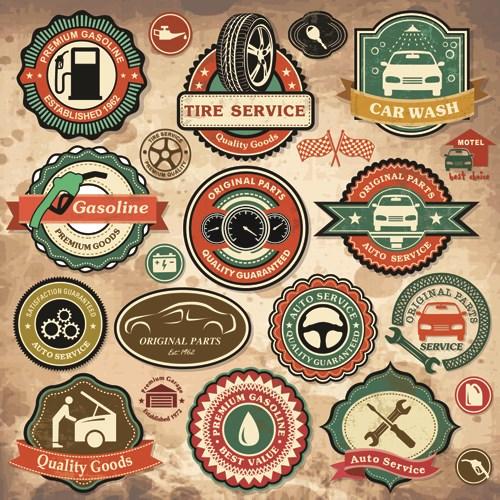Different Car Service Labels vector 01
