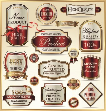 Vintage guarantee premium labels vector 04