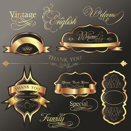 Golden and black Luxury labels design vector set 03