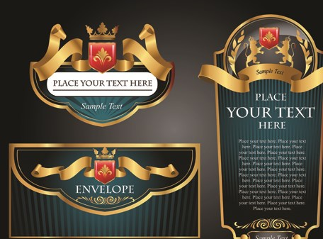 Luxurious Black and gold labels vector 03