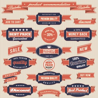 Retro Premium Quality labels design set 02 vector