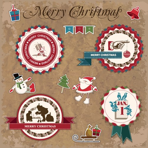 Retro style Christmas labels design vector 03