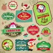 Vintage christmas elements and labels vector 01