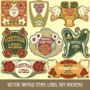 Vintage style label with flowers vector graphic 01