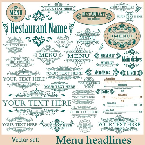Restaurant decor elements vector set 01