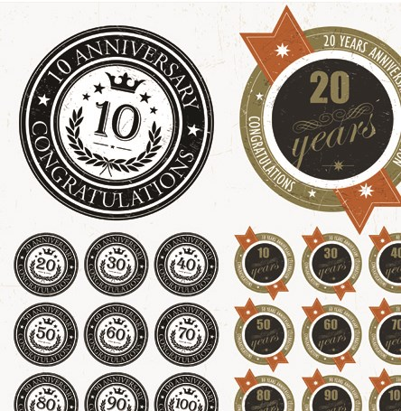Elements of Anniversary numbers labels vector 03