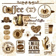 Retro Labels and stickers coffee vector 01