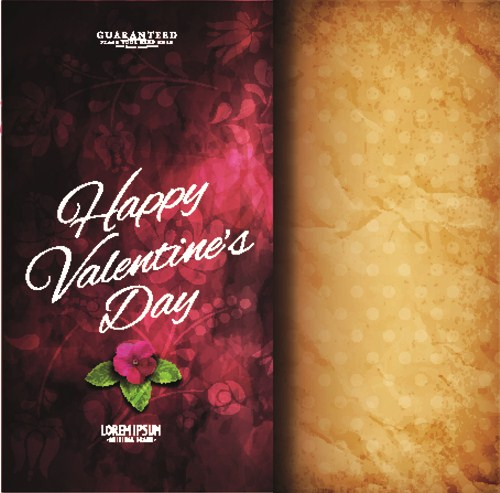 Flower with vintage valentine day background vector 04