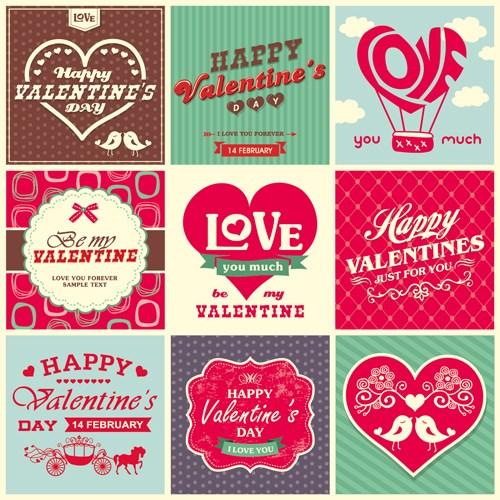 Romantic Valentine retro labels and decor vector 03