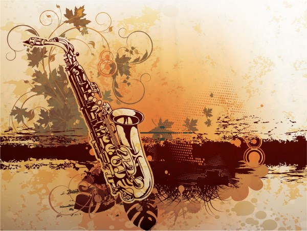 Creative vintage music background vector set 12