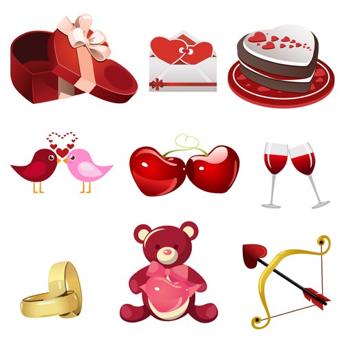 Valentine creative ornaments design vectors
