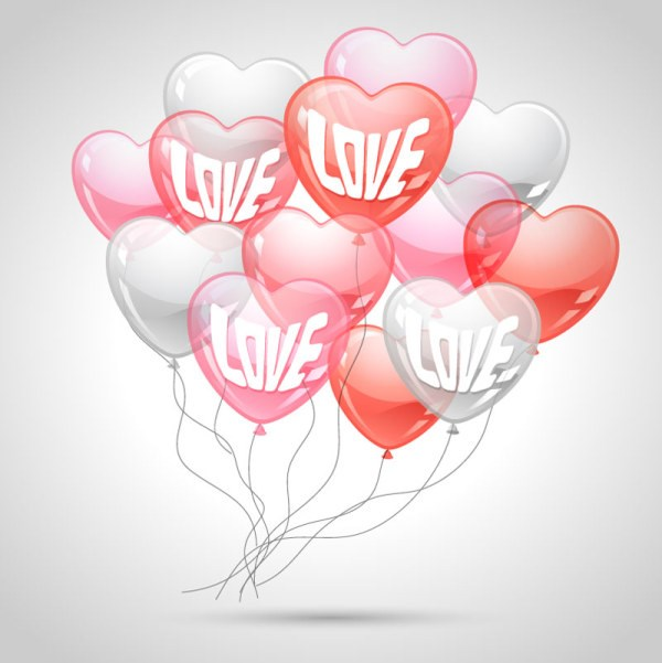 Heart-shaped Balloon design vector 05