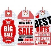 Valentine Day big sale tags vector 03