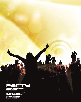 Music party poster vector illustration 02