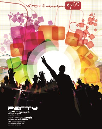 Music party poster vector illustration 03