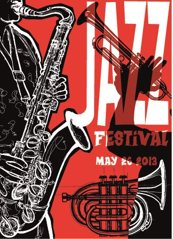Jazz poster publicize template vector 05