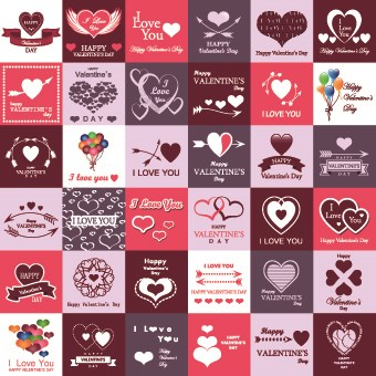 Set of Valentines logos vector  02