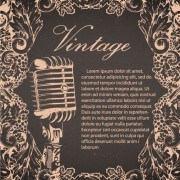 Creative vintage music background vector set 02