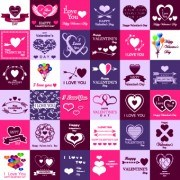 Set of Valentines logos vector  02